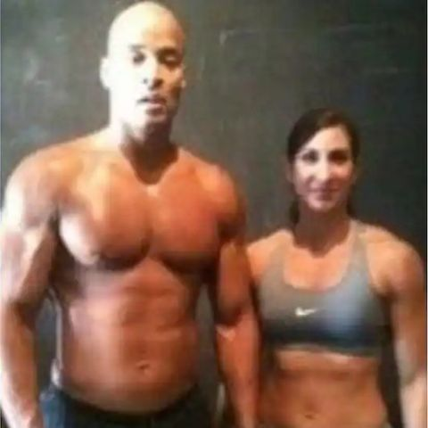 Aleeza Goggins and her ex-husband in gym.