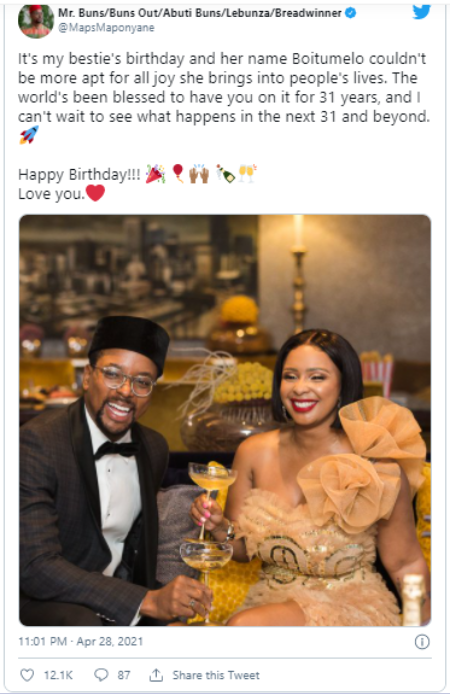 Maps Maponyane is often spotted next to bestie Boity Thulo.