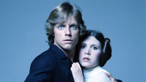 """Mark Hamill and Carrie Fisher as brother and sister Luke Skywalker and Princess Leia in George Lucas' """"Star Wars."""