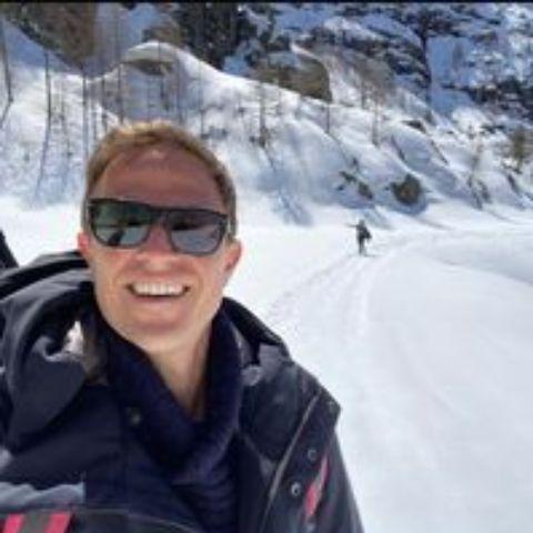 Chris Livesay climbing to the alpine glacier.