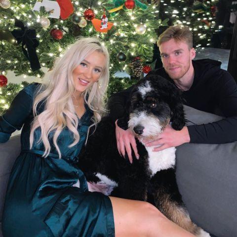 Lauren Kyle and  Conner McDavid celebrating Christmas.