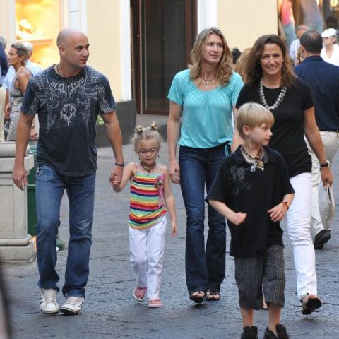 Jaz Elle Agassi walking with her family.