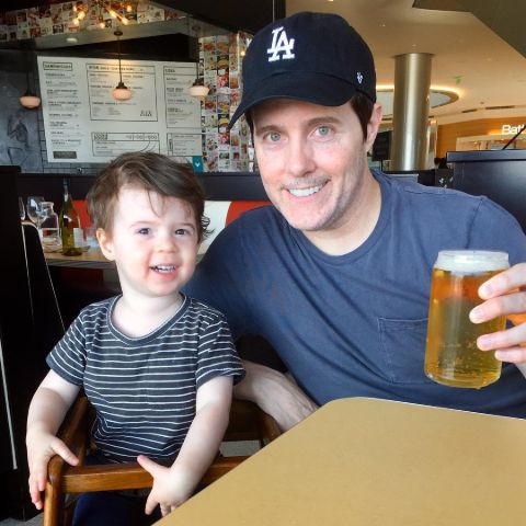 Jeremy Rowley with his son.
