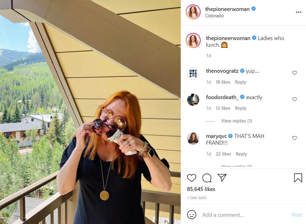 Ree Drummond posted a selfie of the married pair smiling on vacation.