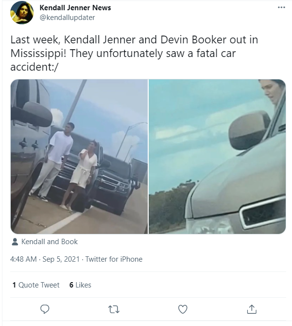 Kendall Jenner and Devin Booker exited their vehicle to explore what was creating the traffic block and witnessed the aftermath.