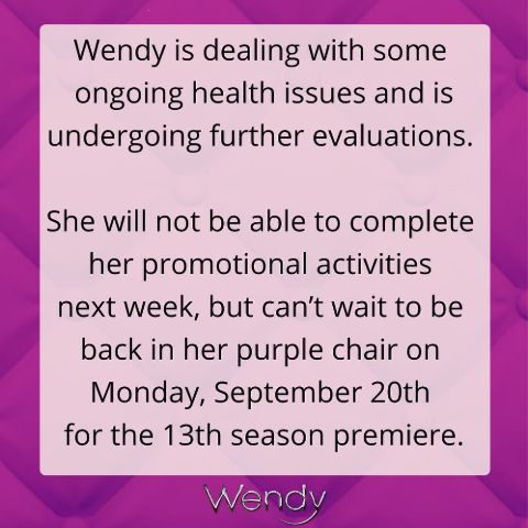 Wendy Williams has posted about her health.