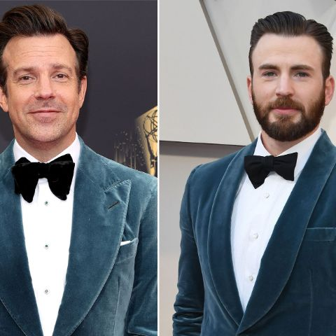 Jason Sudeikis stepped out in a blue suit at the 2021 Emmys, sparking comparisons to Chris Evans' strikingly similar 2019 Oscars look.