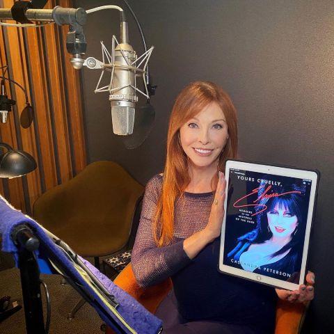 Cassandra Peterson is in a studio.