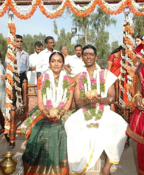 Vali Chandrasekaran and his wife at their wedding.