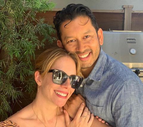 Erica Rivinoja's selfie wit her husband.